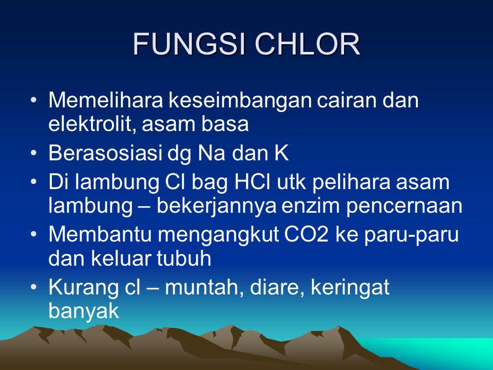 FUNGSI CHLOR Memelihara keseimbangan cairan dan elektrolit, asam basa