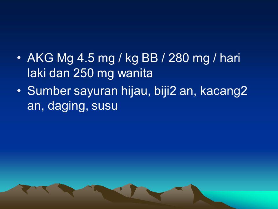 AKG Mg 4.5 mg / kg BB / 280 mg / hari laki dan 250 mg wanita