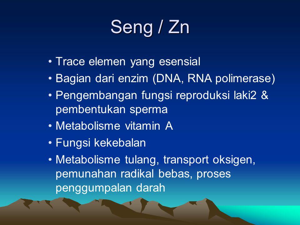 Seng / Zn Trace elemen yang esensial