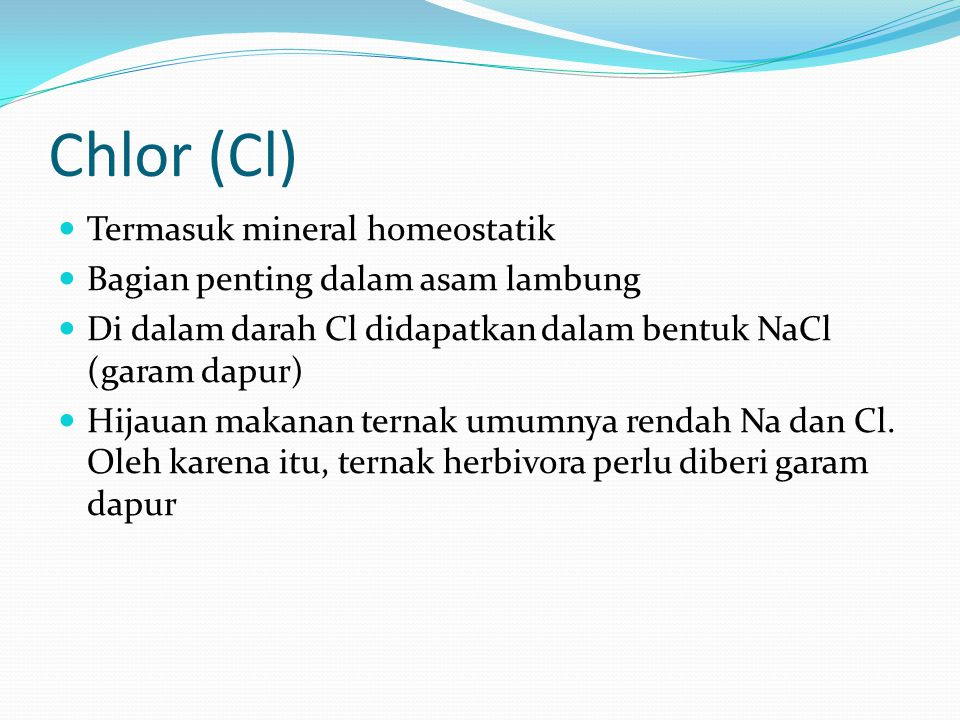 Chlor (Cl) Termasuk mineral homeostatik