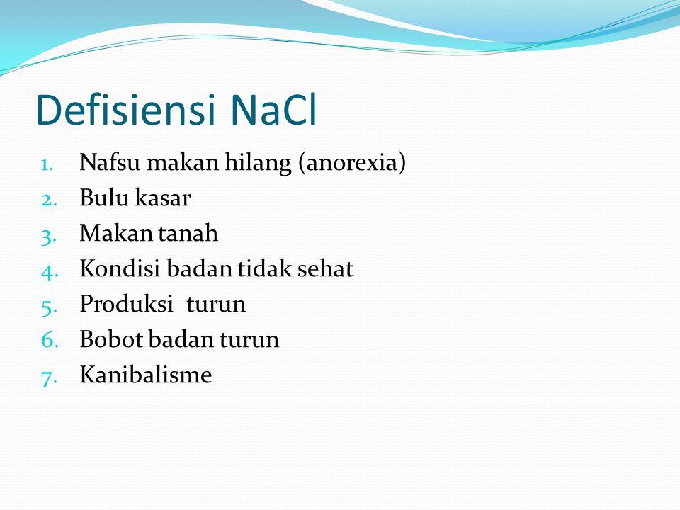 Defisiensi NaCl Nafsu makan hilang (anorexia) Bulu kasar Makan tanah