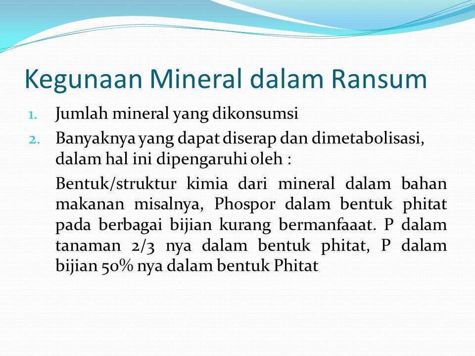 Kegunaan Mineral dalam Ransum