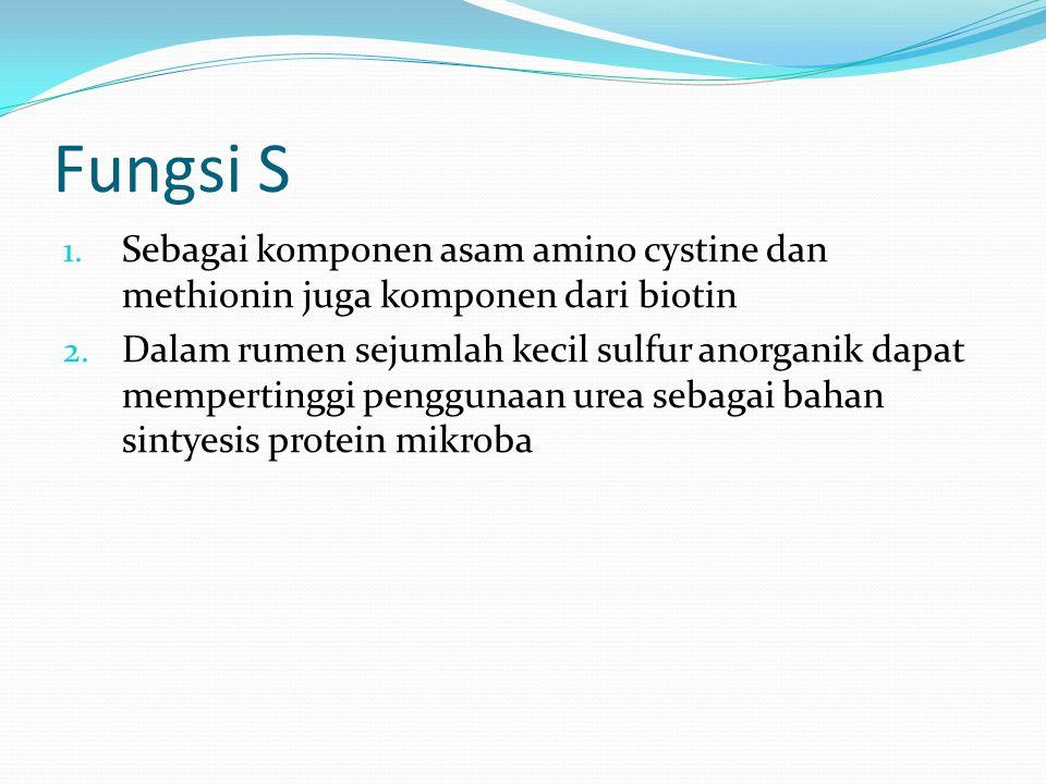 Fungsi S Sebagai komponen asam amino cystine dan methionin juga komponen dari biotin.