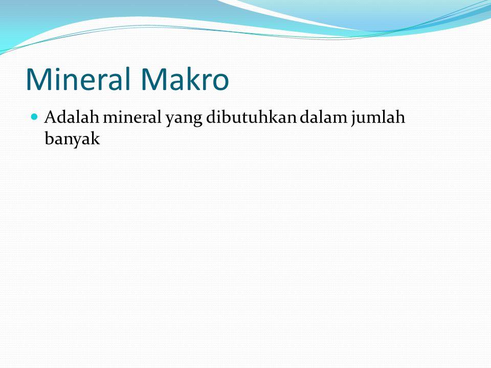 Mineral Makro Adalah mineral yang dibutuhkan dalam jumlah banyak