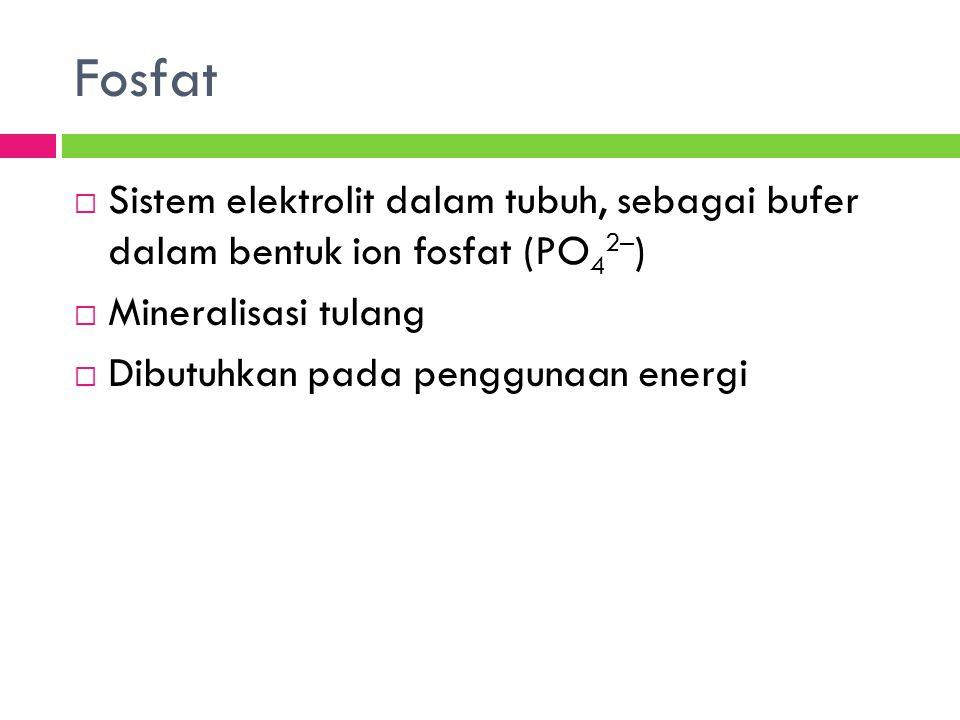 Fosfat Sistem elektrolit dalam tubuh, sebagai bufer dalam bentuk ion fosfat (PO42–) Mineralisasi tulang.