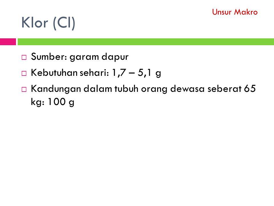 Klor (Cl) Sumber: garam dapur Kebutuhan sehari: 1,7 – 5,1 g