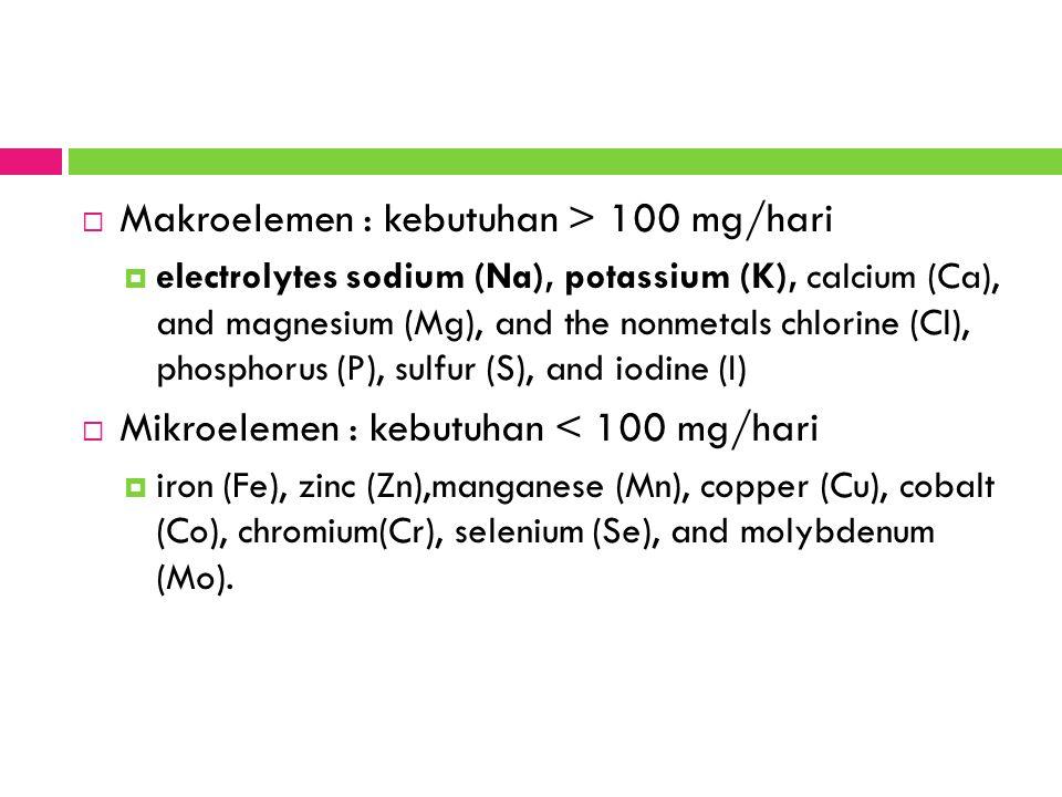 Makroelemen : kebutuhan > 100 mg/hari