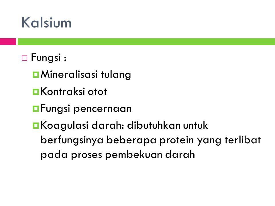 Kalsium Fungsi : Mineralisasi tulang Kontraksi otot Fungsi pencernaan