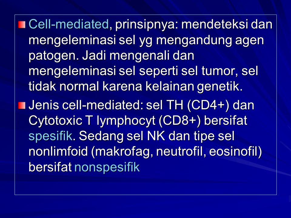Cell-mediated, prinsipnya: mendeteksi dan mengeleminasi sel yg mengandung agen patogen. Jadi mengenali dan mengeleminasi sel seperti sel tumor, sel tidak normal karena kelainan genetik.
