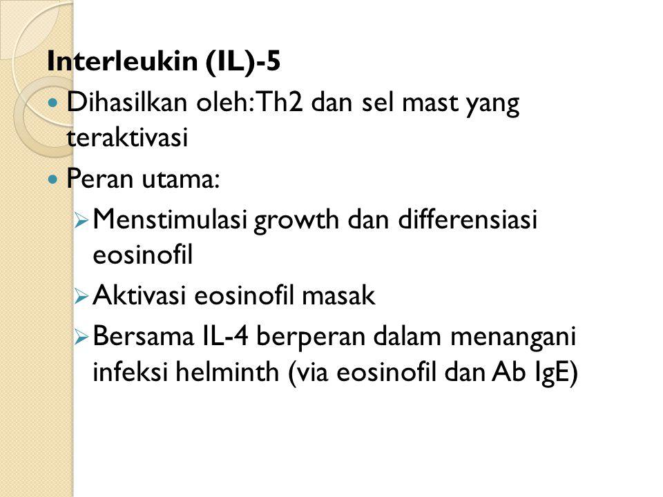 Interleukin (IL)-5 Dihasilkan oleh: Th2 dan sel mast yang teraktivasi. Peran utama: Menstimulasi growth dan differensiasi eosinofil.