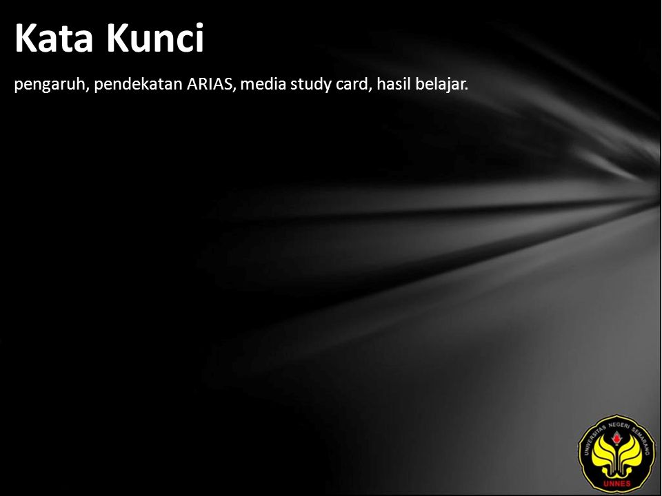 Kata Kunci pengaruh, pendekatan ARIAS, media study card, hasil belajar.