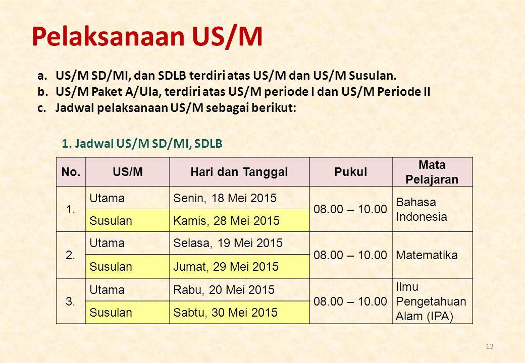 Pelaksanaan US/M US/M SD/MI, dan SDLB terdiri atas US/M dan US/M Susulan. US/M Paket A/Ula, terdiri atas US/M periode I dan US/M Periode II.