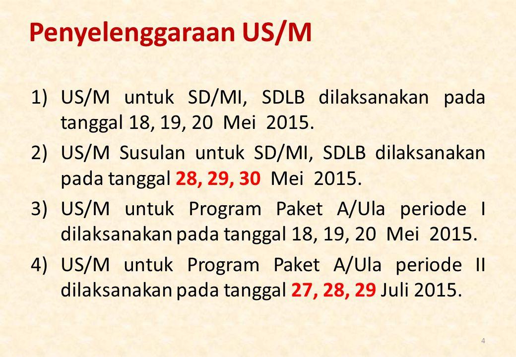 Penyelenggaraan US/M US/M untuk SD/MI, SDLB dilaksanakan pada tanggal 18, 19, 20 Mei 2015.