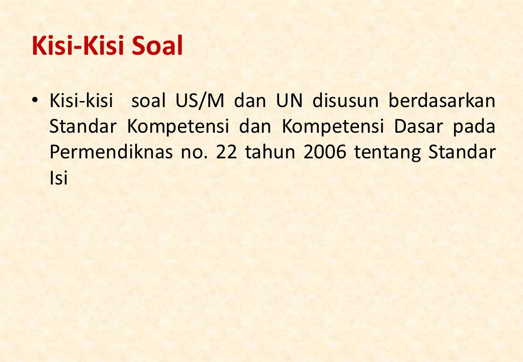 Kisi-Kisi Soal