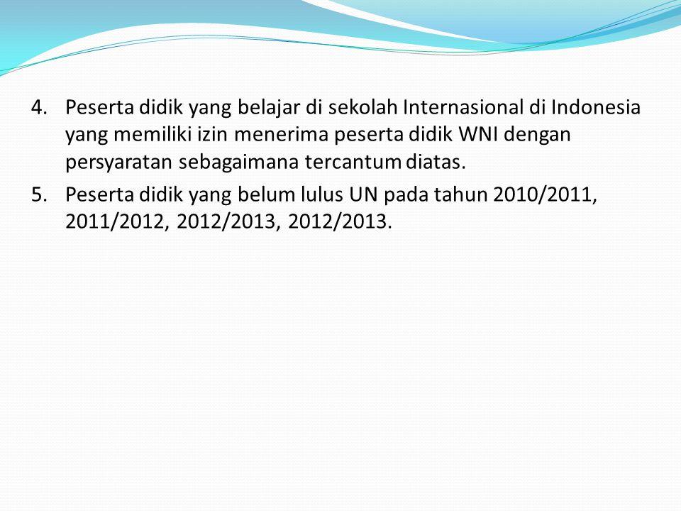 Peserta didik yang belajar di sekolah Internasional di Indonesia yang memiliki izin menerima peserta didik WNI dengan persyaratan sebagaimana tercantum diatas.