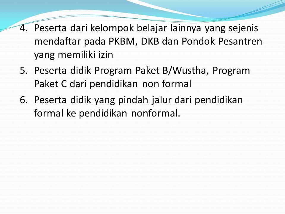 Peserta dari kelompok belajar lainnya yang sejenis mendaftar pada PKBM, DKB dan Pondok Pesantren yang memiliki izin