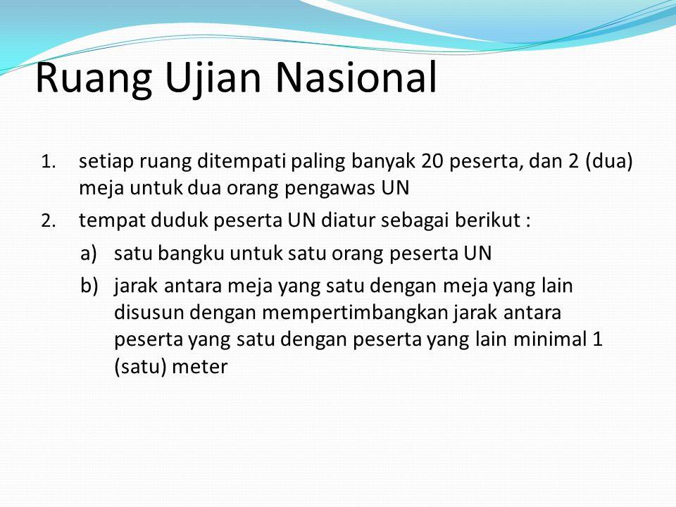 Ruang Ujian Nasional setiap ruang ditempati paling banyak 20 peserta, dan 2 (dua) meja untuk dua orang pengawas UN.