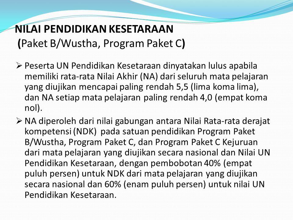 NILAI PENDIDIKAN KESETARAAN (Paket B/Wustha, Program Paket C)