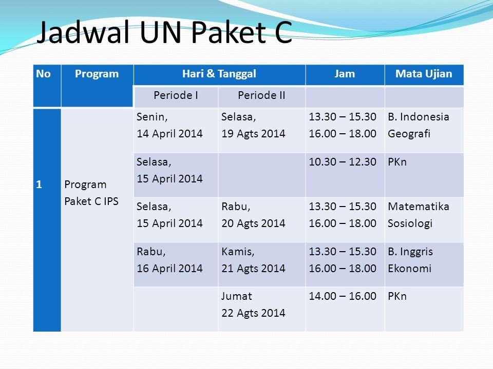 Jadwal UN Paket C No Program Hari & Tanggal Jam Mata Ujian Periode I