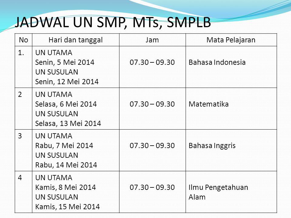 JADWAL UN SMP, MTs, SMPLB No Hari dan tanggal Jam Mata Pelajaran 1.
