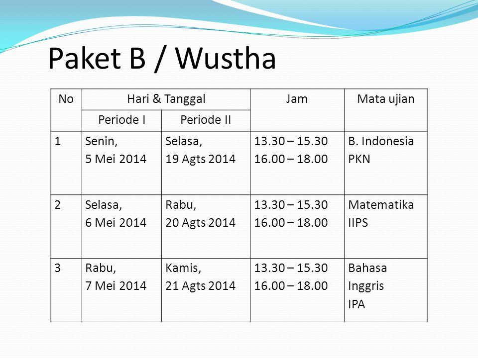 Paket B / Wustha No Hari & Tanggal Jam Mata ujian Periode I Periode II