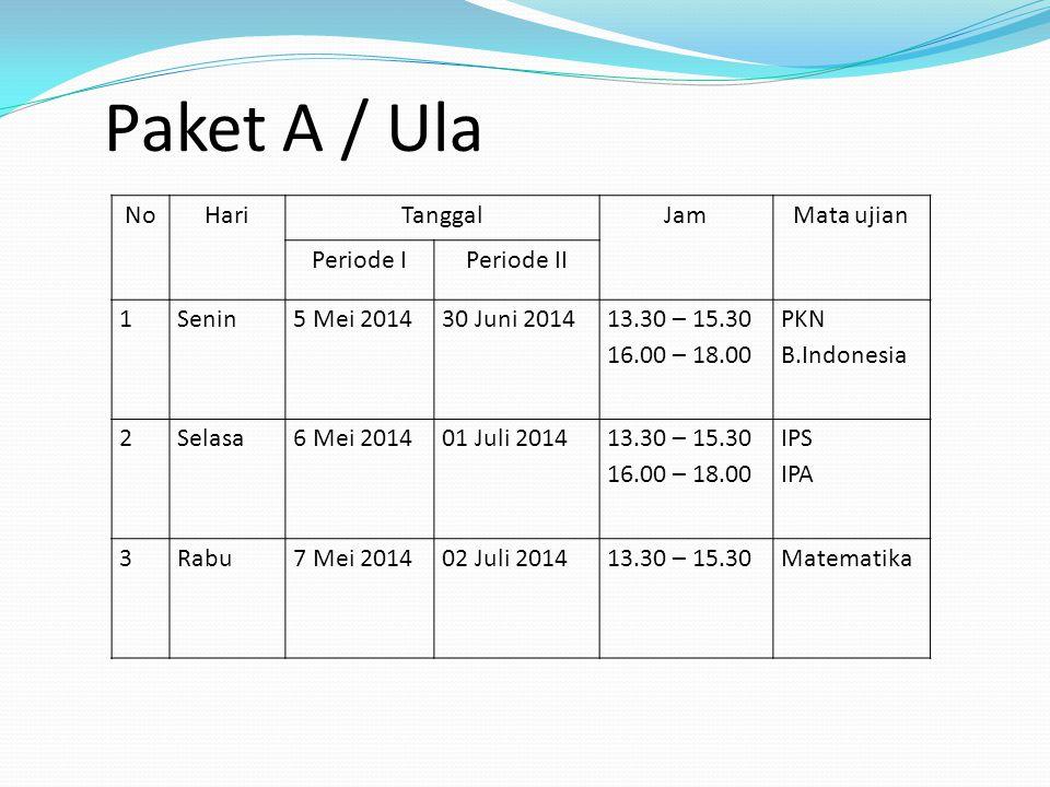 Paket A / Ula No Hari Tanggal Jam Mata ujian Periode I Periode II 1