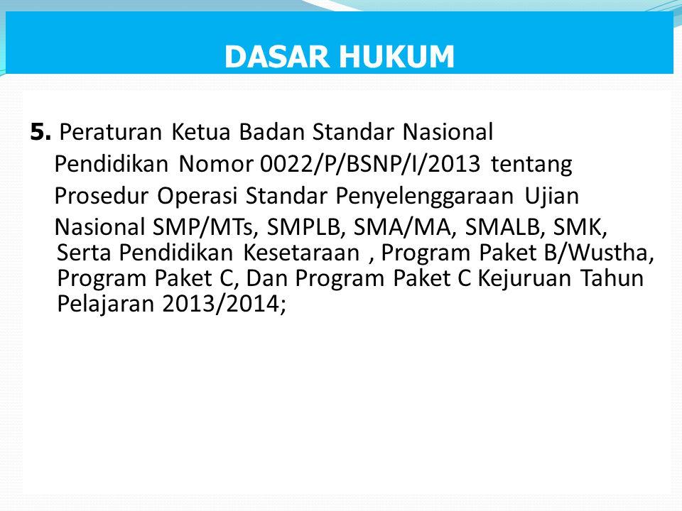 DASAR HUKUM Pendidikan Nomor 0022/P/BSNP/I/2013 tentang