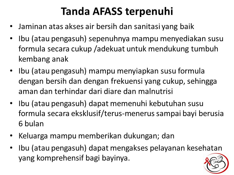 Tanda AFASS terpenuhi Jaminan atas akses air bersih dan sanitasi yang baik.