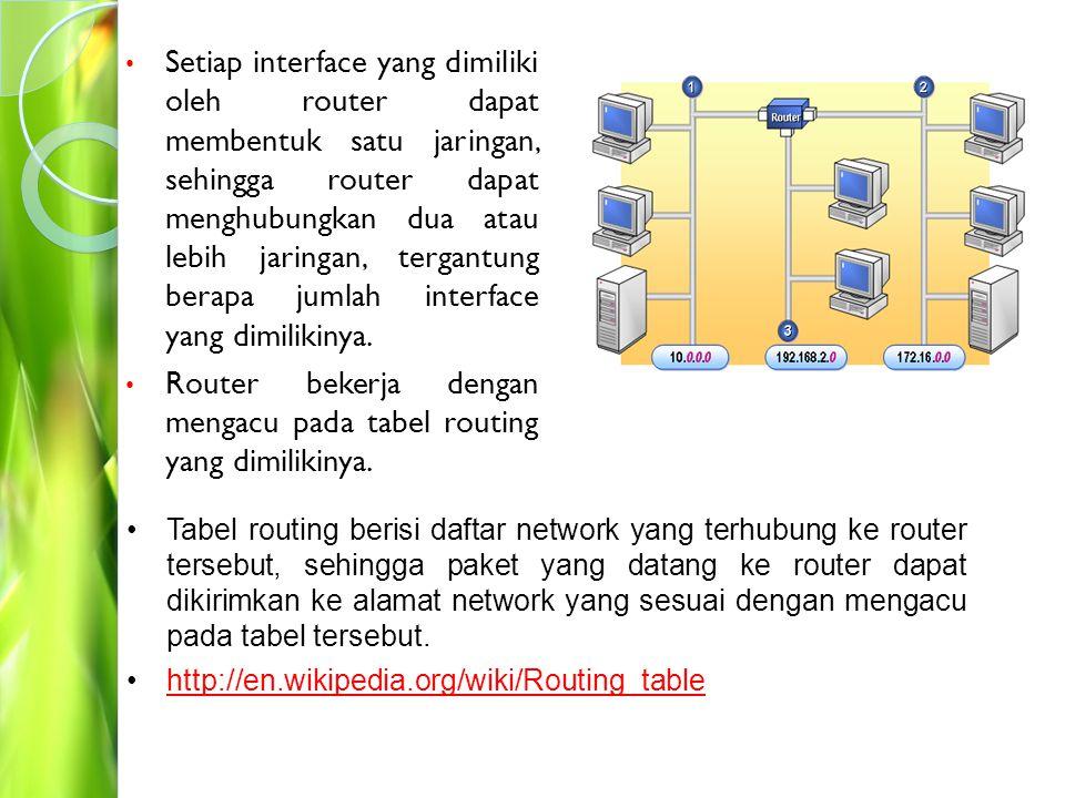 Router bekerja dengan mengacu pada tabel routing yang dimilikinya.