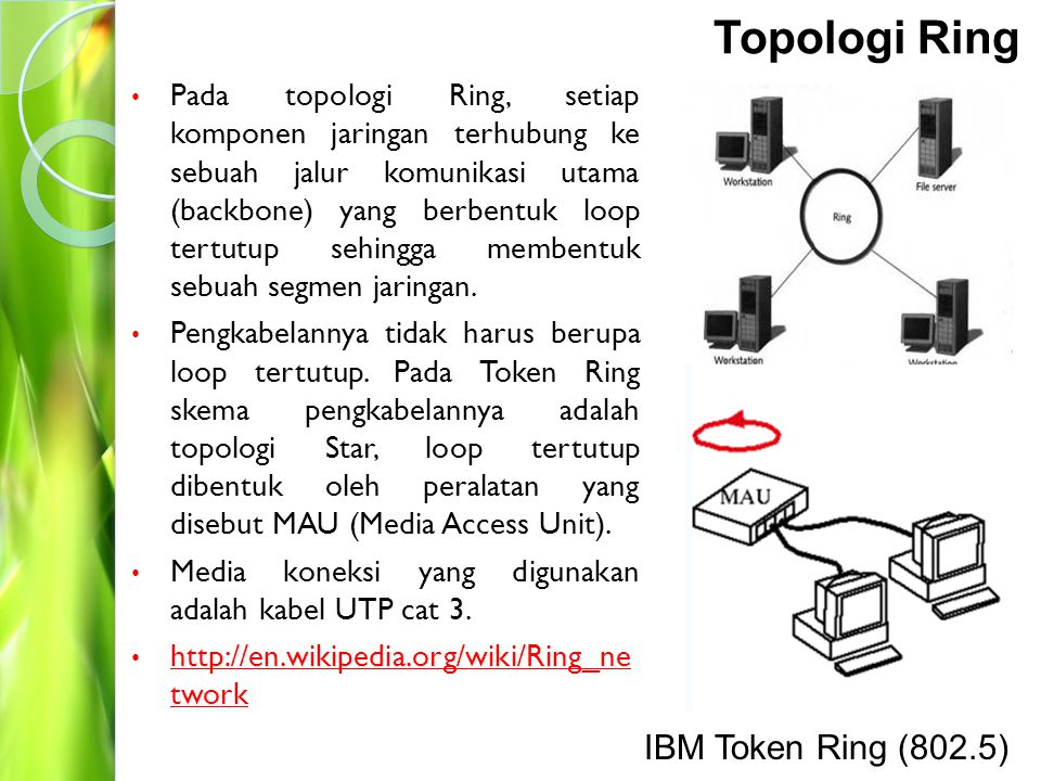 Topologi Ring IBM Token Ring (802.5)