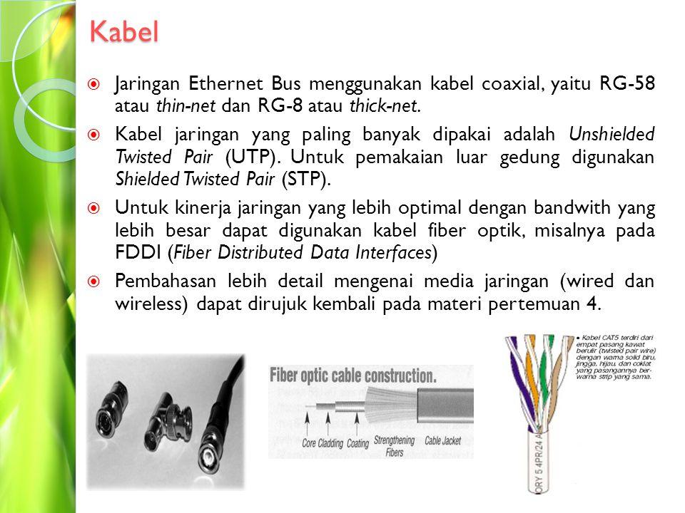 Kabel Jaringan Ethernet Bus menggunakan kabel coaxial, yaitu RG-58 atau thin-net dan RG-8 atau thick-net.