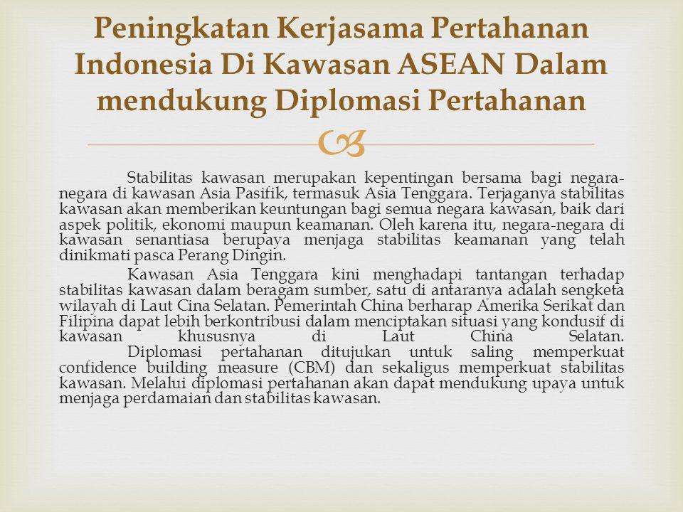 Peningkatan Kerjasama Pertahanan Indonesia Di Kawasan ASEAN Dalam mendukung Diplomasi Pertahanan