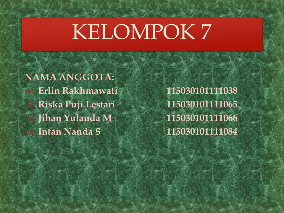 KELOMPOK 7 NAMA ANGGOTA: Erlin Rakhmawati 115030101111038