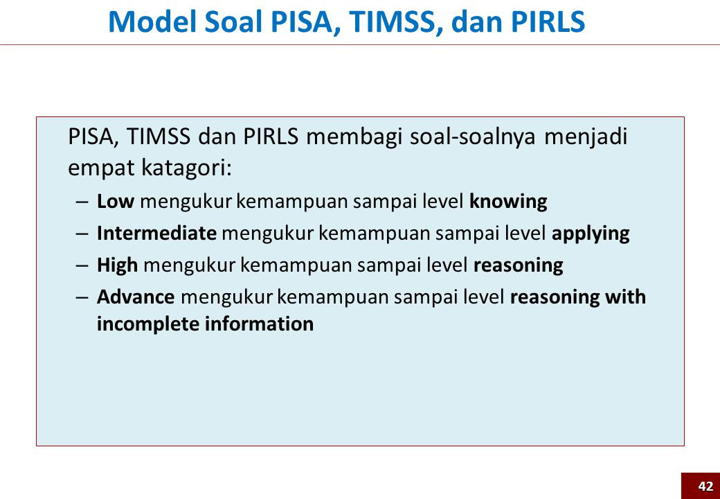Model Soal PISA, TIMSS, dan PIRLS