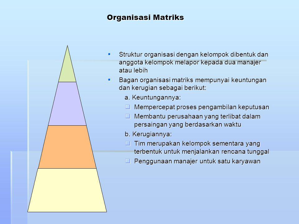 Organisasi Matriks Struktur organisasi dengan kelompok dibentuk dan anggota kelompok melapor kepada dua manajer atau lebih.