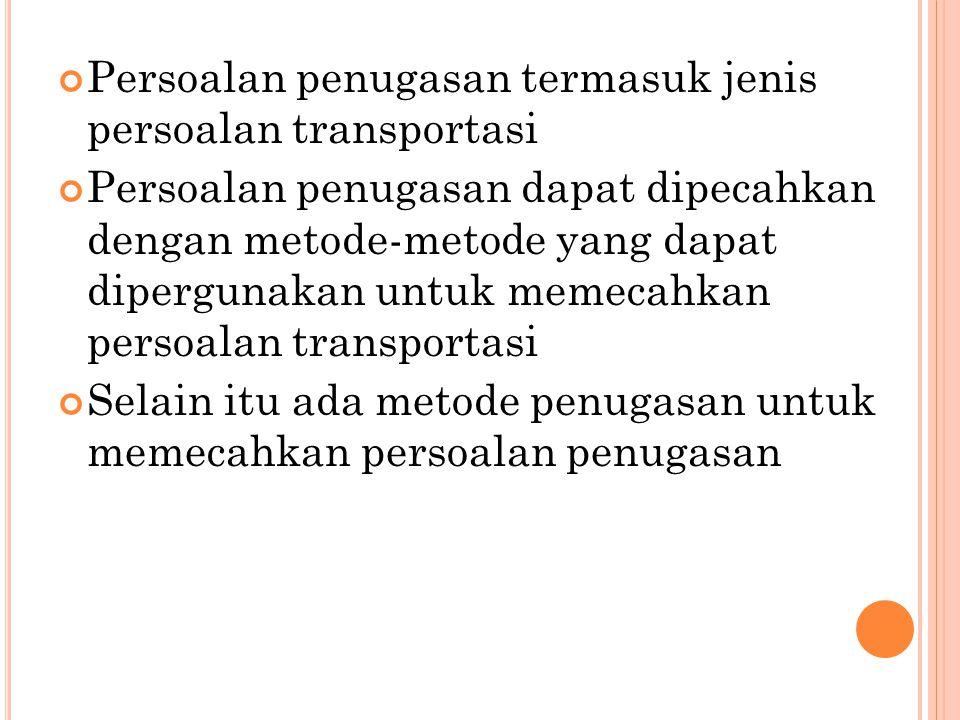 Persoalan penugasan termasuk jenis persoalan transportasi