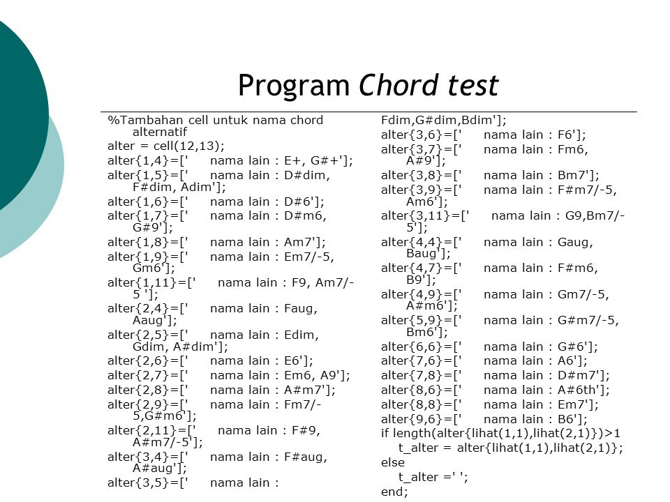 Program Chord test %Tambahan cell untuk nama chord alternatif