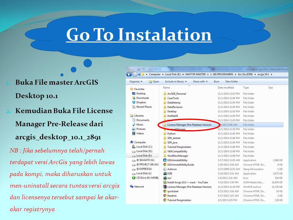 Go To Instalation Buka File master ArcGIS Desktop 10.1