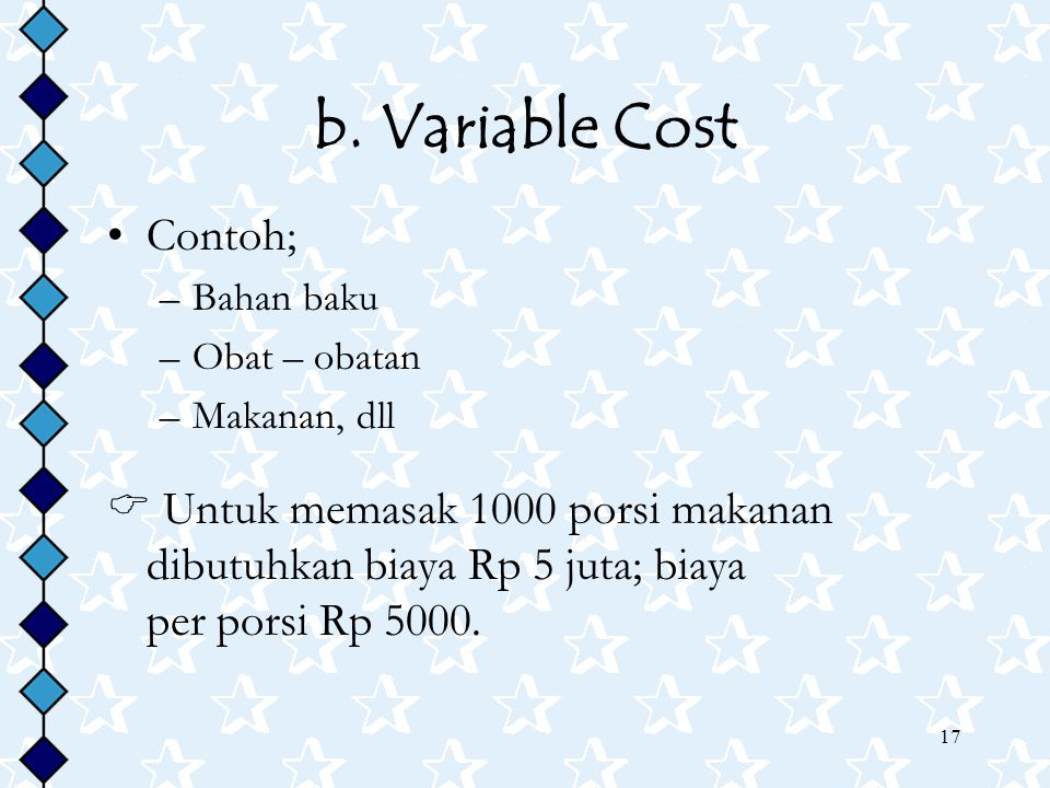 b. Variable Cost Contoh;