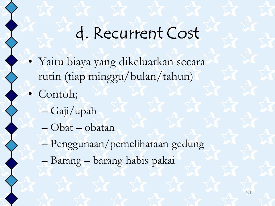 d. Recurrent Cost Yaitu biaya yang dikeluarkan secara rutin (tiap minggu/bulan/tahun)