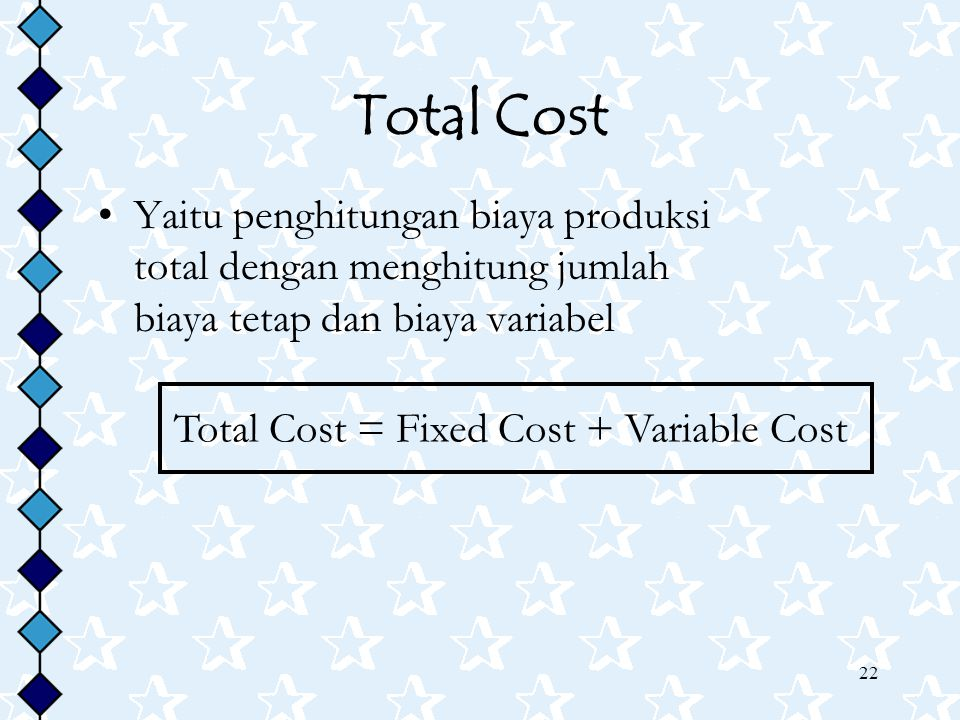 Total Cost = Fixed Cost + Variable Cost