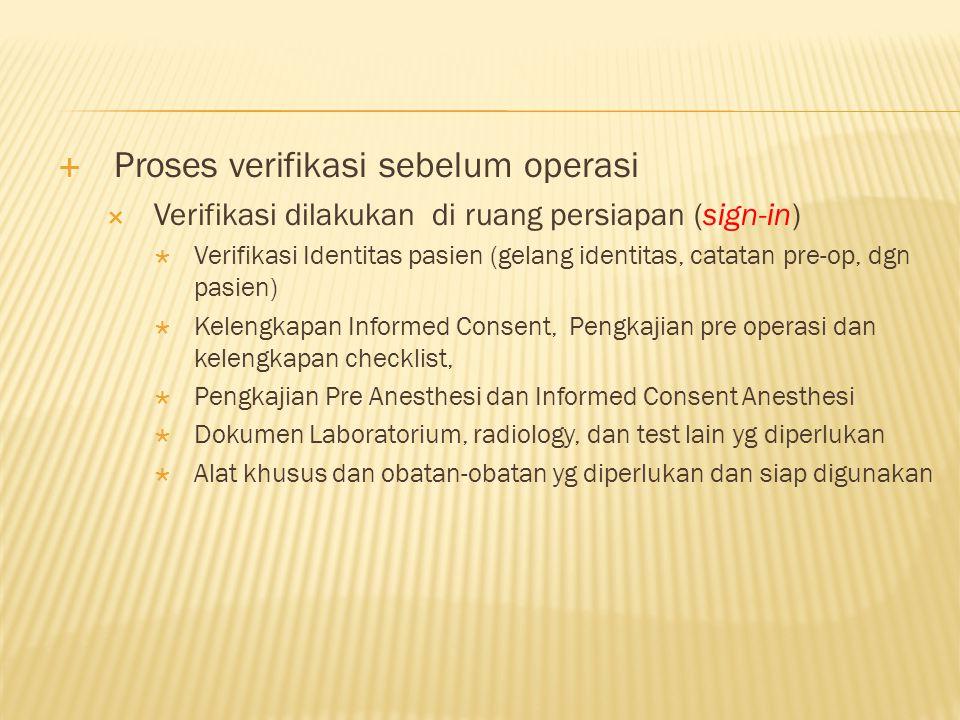 Proses verifikasi sebelum operasi