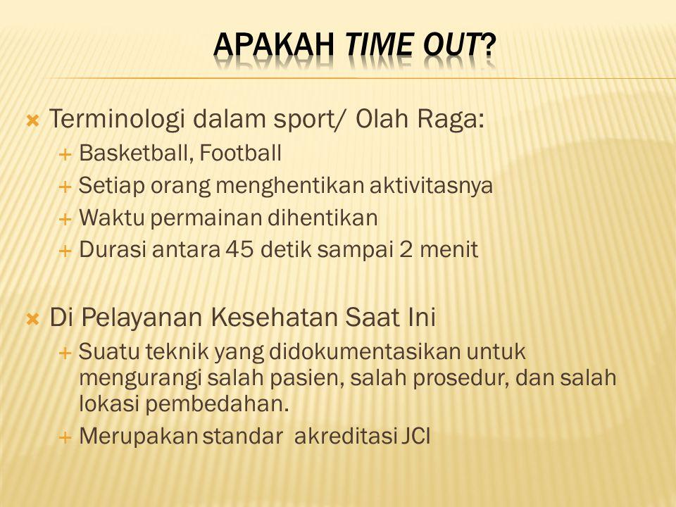 Apakah Time Out Terminologi dalam sport/ Olah Raga: