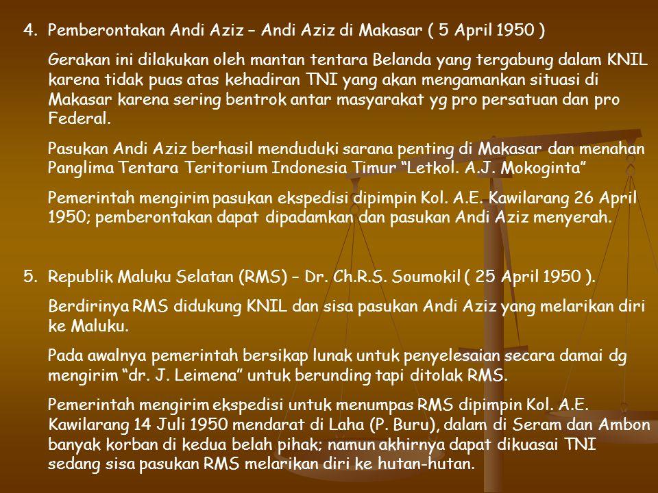 Pemberontakan Andi Aziz – Andi Aziz di Makasar ( 5 April 1950 )