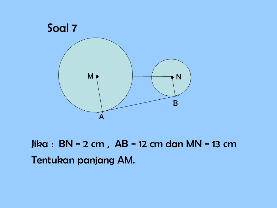 Soal 7 Jika : BN = 2 cm , AB = 12 cm dan MN = 13 cm
