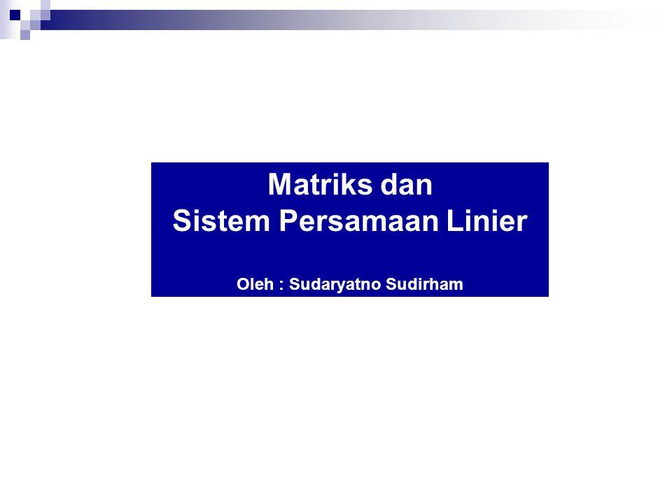 Sistem Persamaan Linier Oleh : Sudaryatno Sudirham
