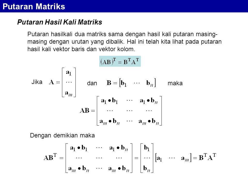 Putaran Matriks Putaran Hasil Kali Matriks