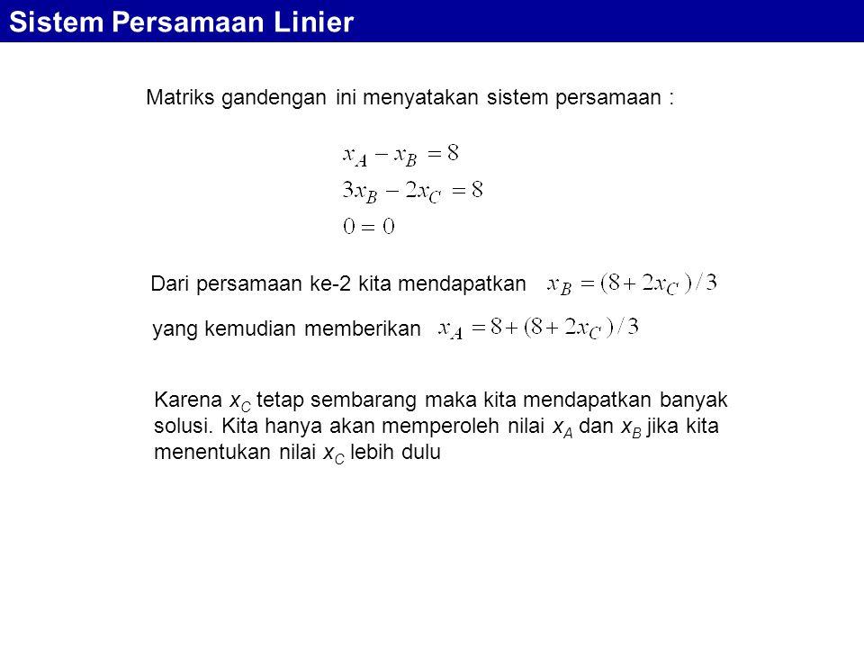 Matriks gandengan ini menyatakan sistem persamaan :