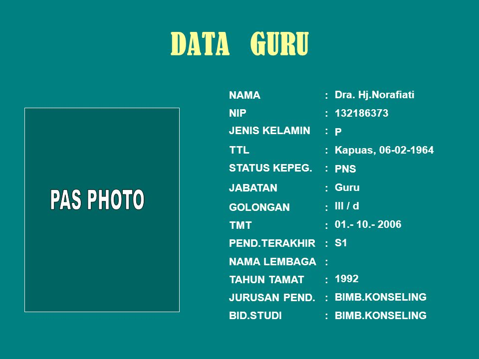 DATA GURU PAS PHOTO NAMA : Dra. Hj.Norafiati NIP : 132186373 P