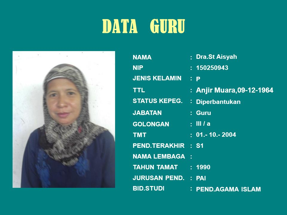 DATA GURU PAS PHOTO Anjir Muara,09-12-1964 NAMA : NIP :